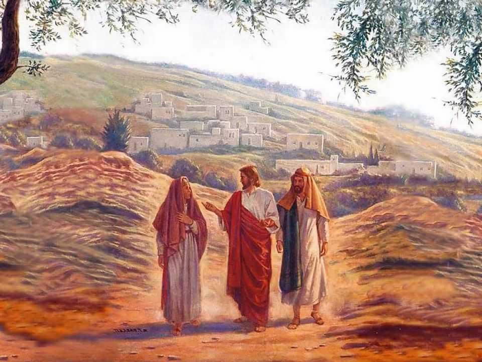 Клеопа и Иисус по дороге в Эммаус