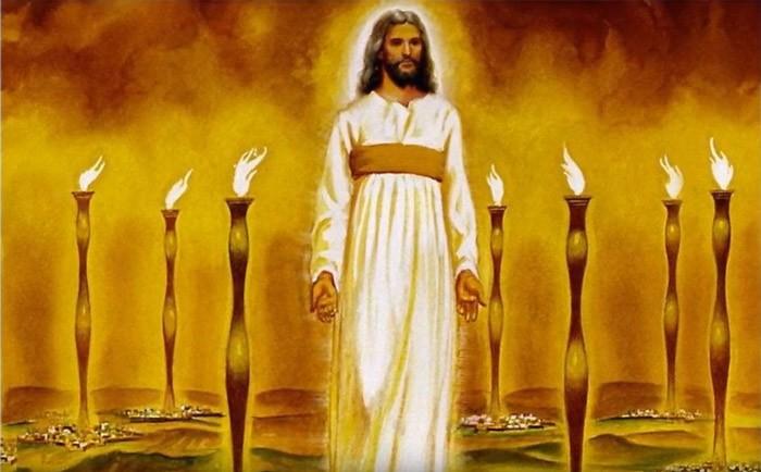 Иисус посреди семи светильников